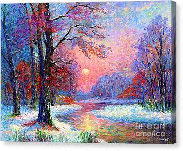 Snowy Night Night Canvas Print - Winter Nightfall, Snow Scene  by Jane Small