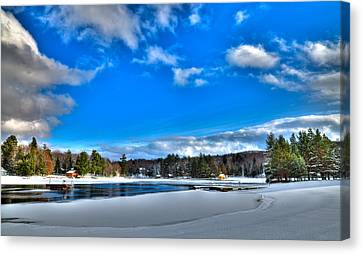 Winter On Old Forge Pond Canvas Print by David Patterson