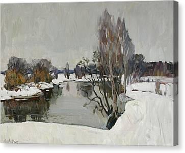 Winter On River Kliazma Canvas Print