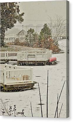 Winter On Silver Lake - Rehoboth Delaware Canvas Print by Kim Bemis