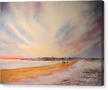 Canvas Print featuring the painting Winter On St Andrews Scotland by Beatrice Cloake