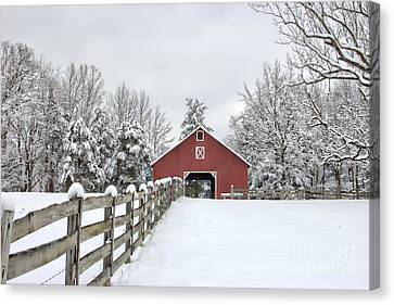 Red Barn In Snow Canvas Print - Winter On The Farm by Benanne Stiens