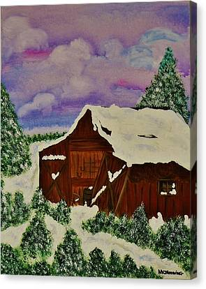 Canvas Print featuring the painting Winter On The Farm by Celeste Manning