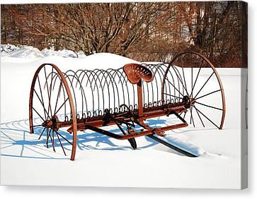 Winter On The Farm Canvas Print by James Kirkikis
