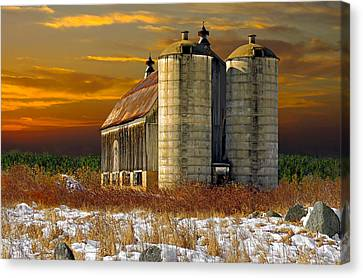 Canvas Print featuring the photograph Winter On The Farm by Judy  Johnson