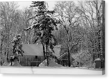 Winter On The Farm Canvas Print by Thomas Fouch