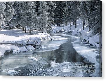 Winter On The Firehole River - Yellowstone National Park Canvas Print by Sandra Bronstein