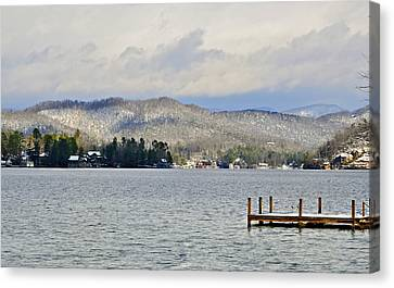 Winter On The Lake Canvas Print by Susan Leggett
