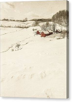 Winter On The Old Farm Canvas Print by Edward Fielding