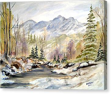 Canvas Print featuring the painting Winter On The River by Dorothy Maier