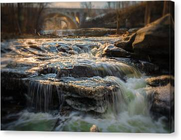 Winter On The Rocky River Canvas Print by Michael Demagall