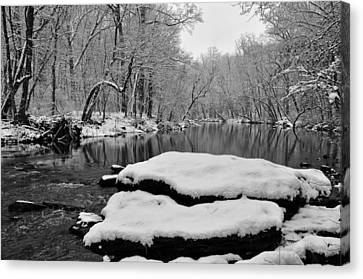 Winter On The Wissahickon Creek Canvas Print by Bill Cannon