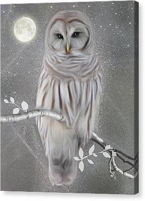 Canvas Print featuring the digital art Winter Owl by Nina Bradica