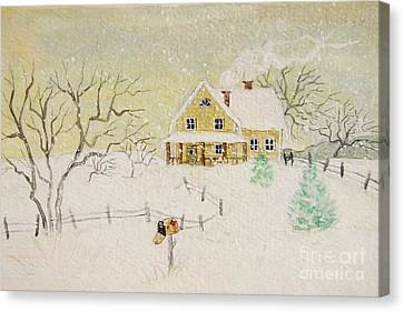 Winter Painting Of House With Mailbox/ Digitally Altered Canvas Print by Sandra Cunningham