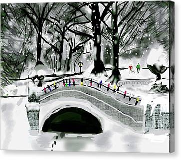 Winter Park In Ny Canvas Print by Gene Derow