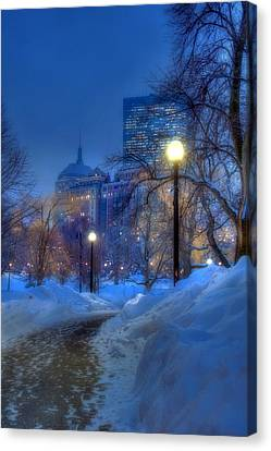 Winter Path - Boston Public Garden Canvas Print by Joann Vitali
