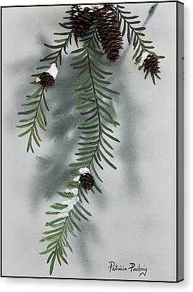 Winter Pine Cones Canvas Print by Patricia Pasbrig