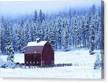 Winter Red Barn Canvas Print by Mark Kiver