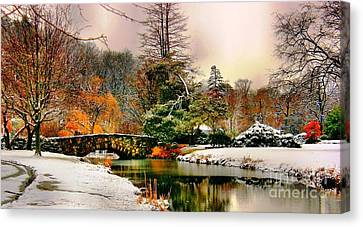 Winter Reflection Canvas Print by Judy Palkimas
