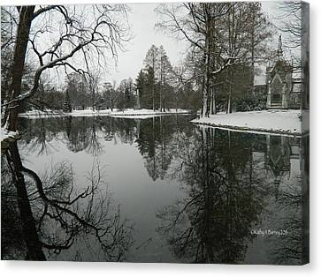 Canvas Print featuring the photograph Winter Reflections 2 by Kathy Barney