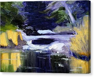 Wa Canvas Print - Winter River by Nancy Merkle