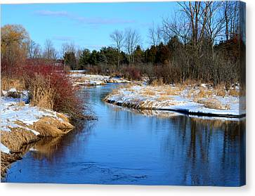 Winter River1 Canvas Print by Jennifer  King