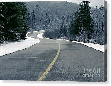 Canvas Print featuring the photograph Winter Road by Jessie Parker