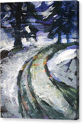 Winter Road Canvas Print by Nancy Merkle