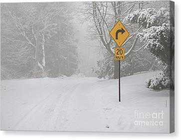 Winter Roads Canvas Print - Winter Road With Yellow Sign by Elena Elisseeva