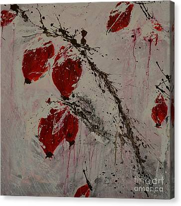 Winter Rose Hip- Abstract Canvas Print by Ismeta Gruenwald