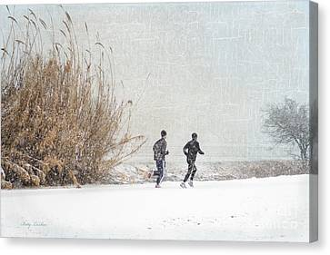Winter Runners Canvas Print by Betty LaRue