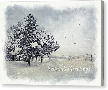 Winter Scene Greeting Card Canvas Print by Julie Palencia