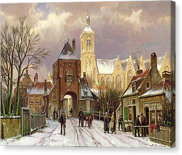 Horse And Cart Canvas Print - Winter Scene In Amsterdam by Willem Koekkoek