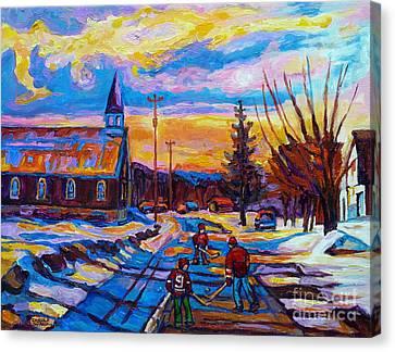Winter Scene Painting-hockey Game In The Village-rural Hockey Scene Canvas Print by Carole Spandau