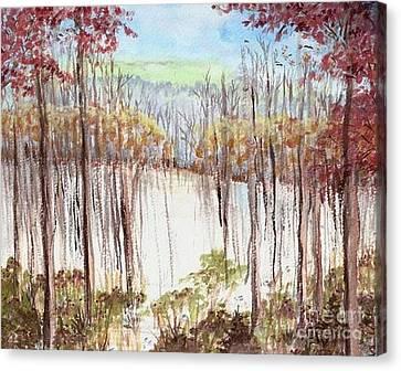 Winter Scene Tracks Canvas Print by Christina Verdgeline