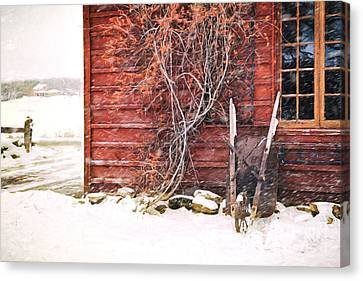 Canvas Print featuring the photograph Winter Scene With Barn And Wheelbarrow/ Digital Painting  by Sandra Cunningham