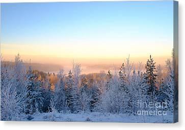 Winter Scenery Of The Lake Hiidenvesi Canvas Print