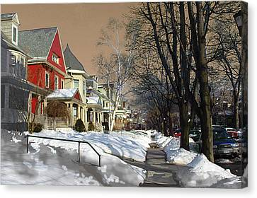 Canvas Print featuring the pyrography Winter Scenery  by Viola El