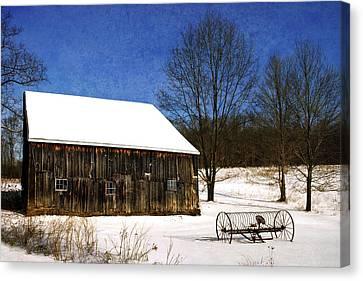 Winter Scenic Farm Canvas Print by Christina Rollo