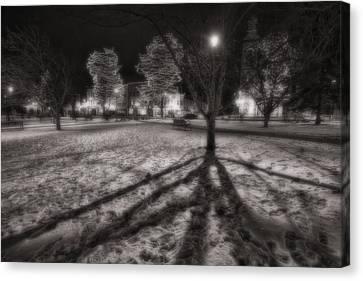 Winter Shadows And Xmas Lights Canvas Print by Sven Brogren