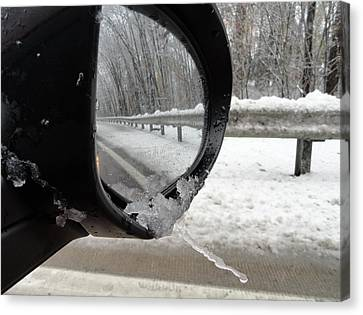 Canvas Print featuring the photograph Winter Side View Mirror by Mary Beth Landis