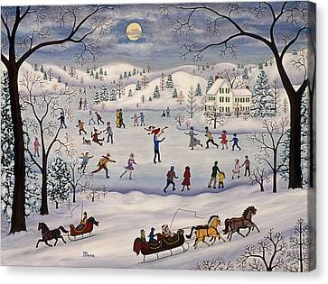 Winter Skating Canvas Print by Linda Mears