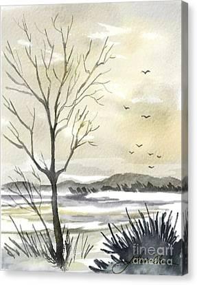 Winter Sky Canvas Print by Joan A Hamilton