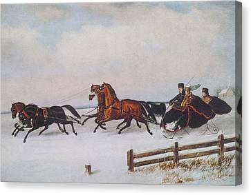 Winter Sleigh Canvas Print by Cornelius Krieghoff