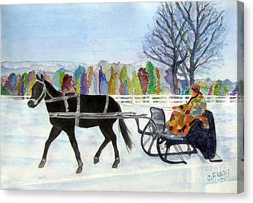 Canvas Print featuring the painting Winter Sleigh Ride by Carol Flagg