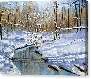 Lake Wylie Canvas Print - Winter Snow 1 by Julia Rietz