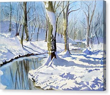 Lake Wylie Canvas Print - Winter Snow 2 by Julia Rietz