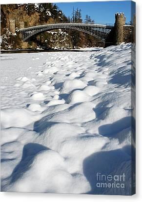 Winter Snow Craigellachie Bridge Scotland Canvas Print by John Kelly