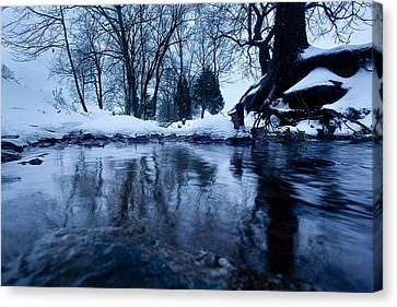 Winter Snow On Stream Canvas Print