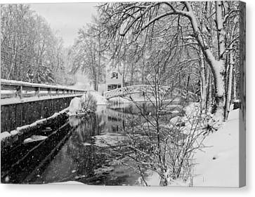 Winter Snow Storm In Somesville Maine Canvas Print by Keith Webber Jr